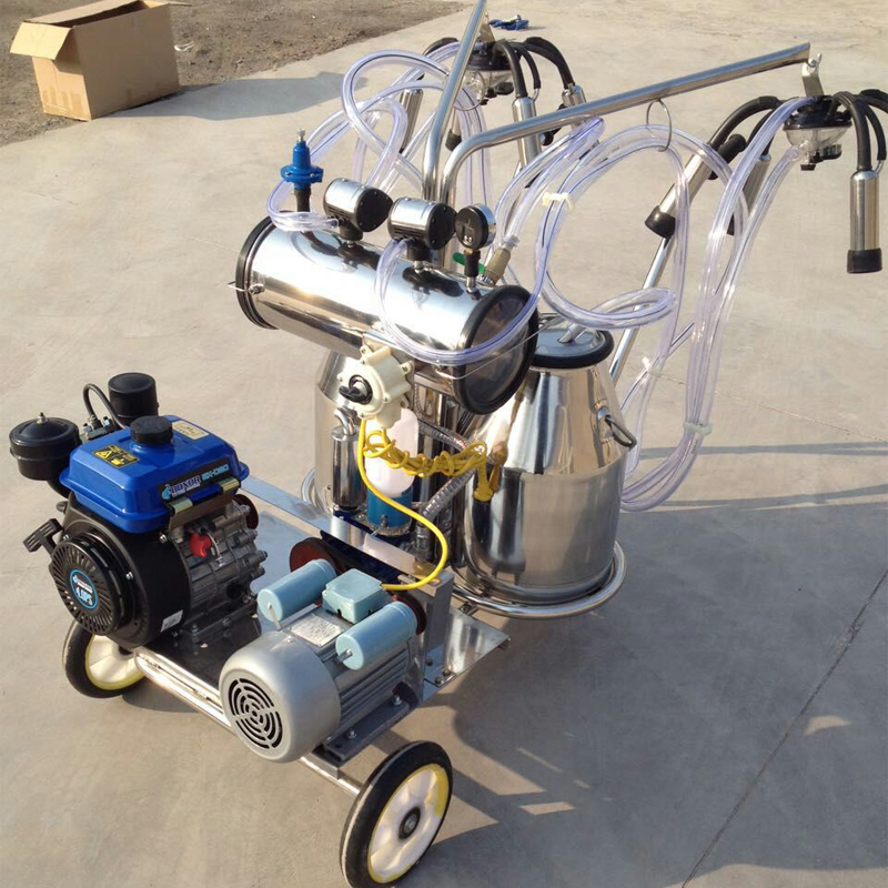 milking machine with gasoline and vacuum pump