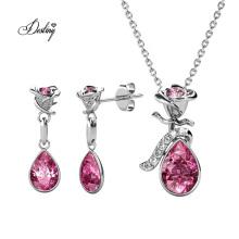 Crystal Fashion Women Wedding Jewelry Flower Dew Pendant and Earring Set