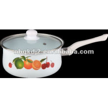 enamel saucepan with double hole glass cover