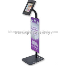 Iron Custom Design Pop Anti-Theft Adjustable Android Tablet Kiosk Pos Floor Display Stand With Lock