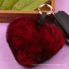 Fashion Heart Shape Rabbit Fur Keychain Handbag Keychain