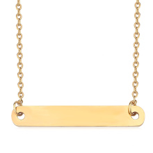 Personalized Name Horizontal Long Bar Necklace Engraved Number Letter Classic Plain Charm Necklace