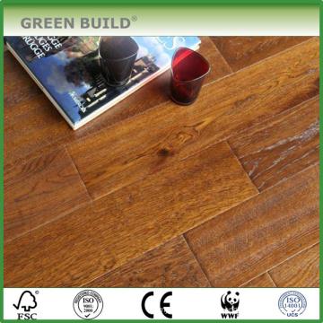 Plancher en chêne massif brossé européen UV de grande taille de ménage