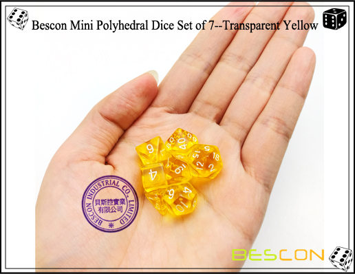 Bescon Mini Polyhedral Dice Set of 7--Transparent Yellow-4