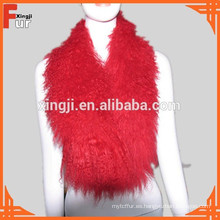 Collar de piel de cordero tibetano rojo Tibet