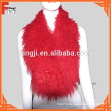 Окрашенных В Красный Цвет Тибет Ягненка Воротник Меховой Воротник