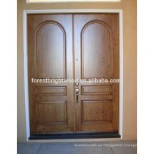 Puerta de cardado de madera Puerta de madera de teca Diseño principal Malasia Puerta de madera