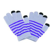 Moda impresa de acrílico de punto guantes de invierno de pantalla táctil
