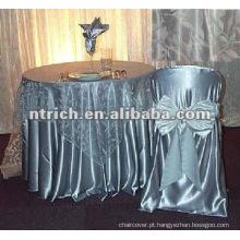Tampa da cadeira de cetim cinza para banquetes/hotel