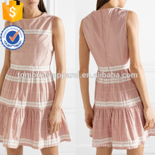 Latest Design Pink And White Cotton Sleeveless Ruffled Mini Summer Dress Manufacture Wholesale Fashion Women Apparel (TA0250D)