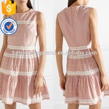Последние дизайн розовый и белый хлопок рукавов Раффлед летние мини-платье Производство Оптовая продажа женской одежды (TA0250D)