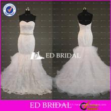 ED Bridal Sexy Sweetheart Mermaid Lace Appliqued Robes de mariée 2017 avec bordure perlée