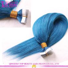 2016 venda quente cor azul alta qualidade 100% ombre indiano remy cabelo extensão fita por atacado cabelo extensão da fita