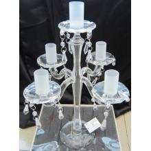 Bougeoir en verre clair pour décoration de mariage avec cinq glaçages