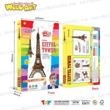 funny diy wooden eiffel tower set passed ASTM D4236&EN71 testing standard