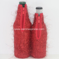 Red plush custom beer bottle holder set