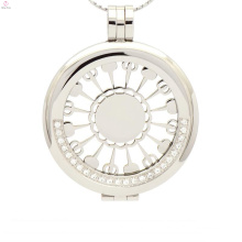 Fashion silver crystal disc pendant,solid silver crystal coin locket pendants