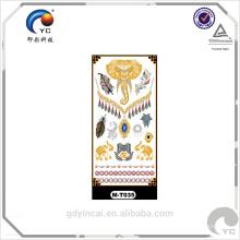 Etiqueta engomada falsa temporal del tatuaje del cuerpo al por mayor del oro y de la plata con estilo de la tribu de la novia