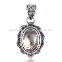Lovely Abalone Shell Gemstone 925 Sterling Silver Pendant Jewelry