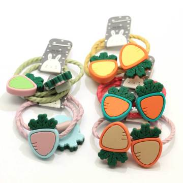 100Pcs Fashion Handmade Resin Cartoon Carrot Elastic Rubber Bands Headwear Baby Girls Ponytail Holder Scrunchy Hair Accessories