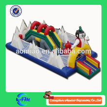Happy inflatable fun city 0.55mm PVC inflatable park inflatable bouncer slide for sale