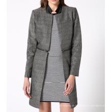 17PKCSC021 mulheres dupla camada 100% casaco de lã de caxemira