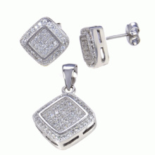Fashion Fine Jewelry Ensemble de bijoux en argent sterling 925 Micro Setting
