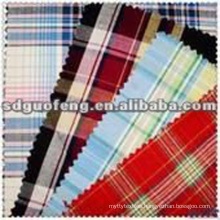 custom 100 cotton yarn dyed shirt fabric/blue color plaid check collection fabric