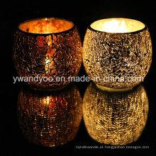 Luxury Mosaic Glass Candle Holder para decoração