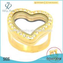 Nuevos anillos del corazón del oro de la alta calidad, foto de cristal del acero inoxidable que flota la joyería de los anillos de los lockets