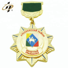 Custom zinc alloy gold metal military souvenir medallion with upper plate