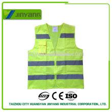 fluoreszierenden gelben reflektierenden Tasche Sicherheitsweste mit Reißverschluss