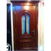 Porta de madeira sólida com design de vidro