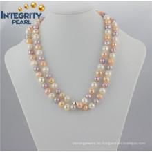 Lange bunte Perlen-Halskette 10mm AA- multi Farben-lange Kartoffel-Perlen-Halskette
