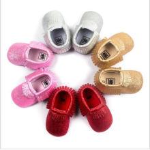 Рождественская статья Блестящая мягкая нижняя ручная тасселка для малышей Детская обувь