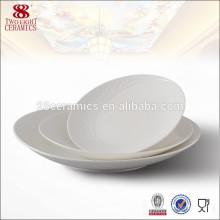 Pas de nourriture de mélamine pas cher restauration ronde pure assiettes blanches