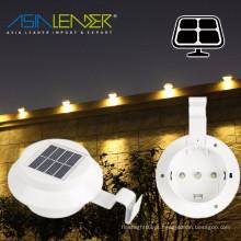 Outdoor Solar Powered 3 LED Gutter Luz cerca de telhado Gutter Garden Yard Lâmpada de parede