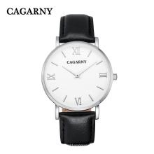 6812 reloj de pulsera de cuero plateado romano para hombres y mujeres