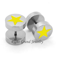 Fancy 10mm Yellow Star Surgical Steel Magnetic Fake Earrings