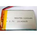 Batería recargable del Li-ion 503759 3.7V 1200mAh Batería del Litio-Polímero