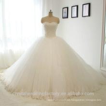 El vestido de bola blanco elegante del amor de Alibaba rebordeó el vestido nupcial de los vestidos de boda del cordón vestidos de novia 2016 LWB02