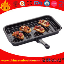 Enamel BBQ Cooking Grill Pan con estante y manija desmontable