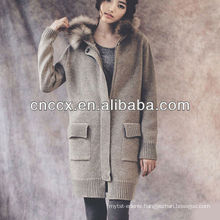 13STC5094 ladies long hooded cardigan sweater