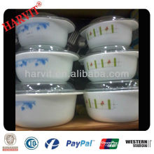 Cristal Resistente al Calor 2,5 Cuartas Cazuela Tapa de Plato Flor Azul sobre Blanco Tazones para Cristalería Opal