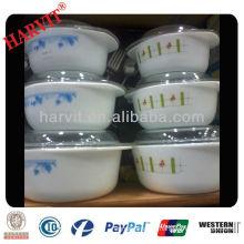 Heat-Resistant Glass 2.5 Quart Casserole Dish Lid Flower Blue on White Opal Glassware Bowls Set