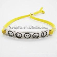 Bracelet en cuir jaune yelolw 2013 avec symbole phiz en alliage d'argent sculpté