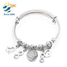 Luxus mit Anhänger Silber Edelstahl Magnet Armband für Frauen