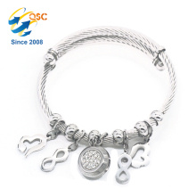 Luxury with pendant silver stainless steel magnetic bracelet for women