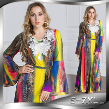 Mode 2017 femmes doux Polyester Musulman hijab mince Abaya robe imprimée