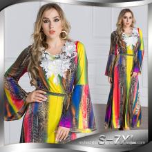fashion 2017 women soft Polyester Muslim hijab slim Abaya printed dress
